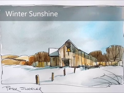 A line and wash tutorial of a Barn in Winter Watercolor. Simple and fun. With Peter Sheeler.