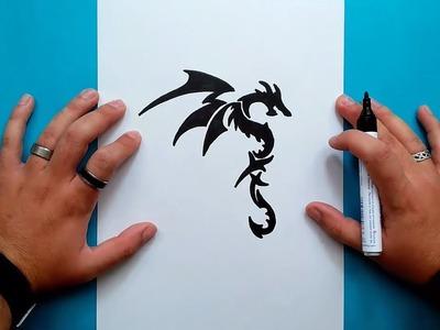 Como dibujar un dragon tribal paso a paso 2 | How to draw a tribal dragon 2