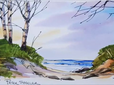 Easy to folow pen and wash tutorial of Beach sunset in watercolor. Full video in realtime