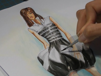 Fashion drawing - painting a black and white dress - watercolor technique