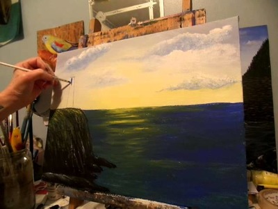 How to draw and paint a lighthouse Acrylic Painting lesson 4