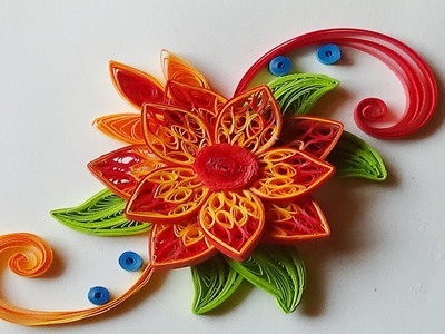 Quilling flowers | how to make flowers with paper step by step I Quilling orange.red Flower