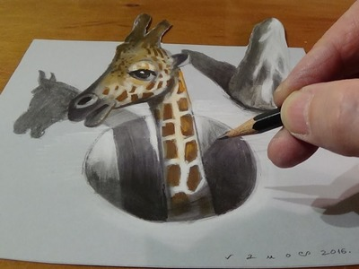 Trick Art, Drawing a Giraffe in a Hole, 3D Illusion