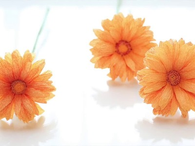 [Crepe paper flowers] Gerbera Daisy [Easy & Simple FULL tutorial] FREE Template!!