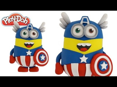 Play Doh How to Make a 3D Captain America Minion DIY RainbowLearning