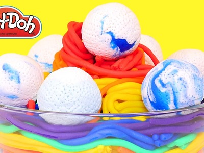 Rainbow Spaghetti Cloud Meatballs * Play Doh Food * DIY How To Make Playdoh Video