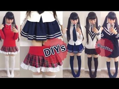 DIY Daily Anime Japanese School Uniforms for Beginners: DIY Navy Skirt+Plaid Skirt+School Outfits