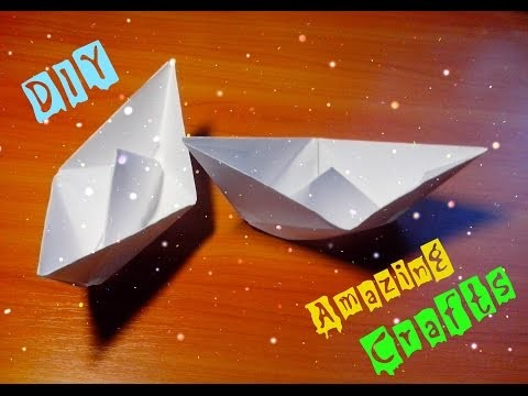 DIY Easy Paper Ship. Origami Boat For Children and Beginners Step By Step Tutorial. Kids Craft