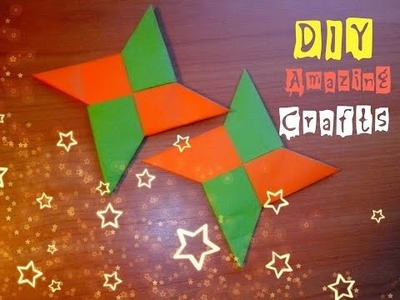 DIY How To Make Paper Shuriken Easy. Funny Origami For Children and Beginners. Tutorial for Kids