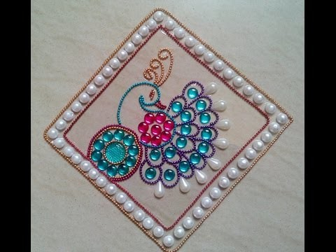 DIY Kundan rangoli Design full video-peocock rangoli