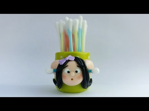 DIY Q-tips holder - polymer clay tutorial