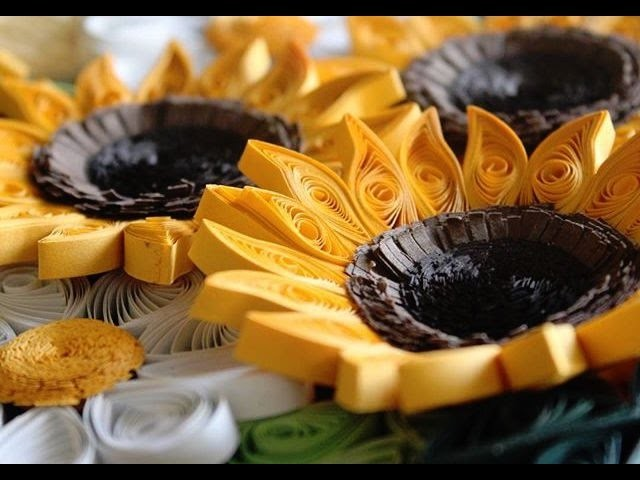 Sunflower making diy with Paper - Quilling Designs Arts