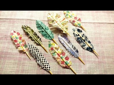DIY Washi Tape Feathers