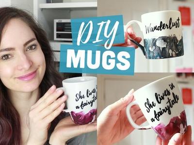 DIY customised mugs - watercolour & quote | CharliMarieTV