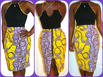 Part 1of 2:PINTREST DIY ZIPPER BACK PENCIL SKIRT WITH ANKARA FABRIC|AFRICAN MATERIAL|BEGINNER SEWING