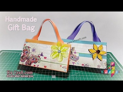 DIY crafts: Homemade Paper GIFT BAG (Easy) - K4Craft.com
