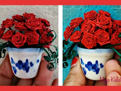 How to make DIY Paper Quilling Beautiful Miniature Flower Pot - Rose Design -  Ideas tutorial!