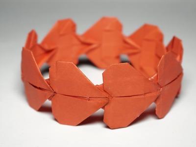 Easy origami HEART BRACELET tutorial - DIY (Henry Phạm)