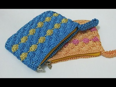 Crochet    Dompet Koin Motif Kerang (Resleting + Furing) - Shell Stitch