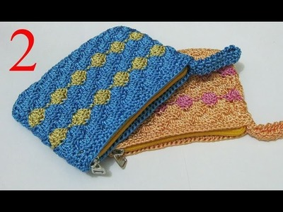 Crochet || Dompet Koin Motif Kerang (Resleting + Furing) - Shell Stitch (Part 2)