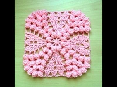Granny punto popcorn tejido a crochet. granny point popcorn facil crochet