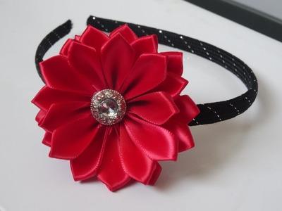 How to make ribbon flower headband - super easy method