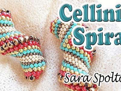 Tutorial Cellini spiral - Flat ending - How to make Cellini bracelet - Peyote stitch technique