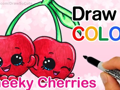 How to Draw + Color  Shopkins Cheeky Cherries step by step Cute Season 4