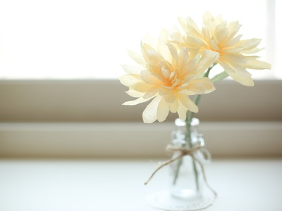How to make paperflowers(crepe paper) #4. making Dahlia