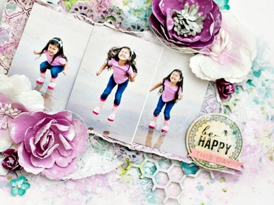 Step-by-step Scrapbook layout tutorial. How to create a watercolor background