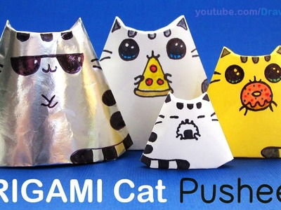 How to Make + Draw a ORIGAMI Cat step by step Easy Pusheen Inspired