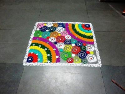 How to make easy fancy square rangoli design
