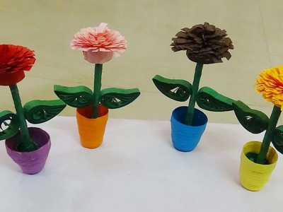 Quilling artwork | How to make a 3D quilling miniature  flower pot quilling flower DIY