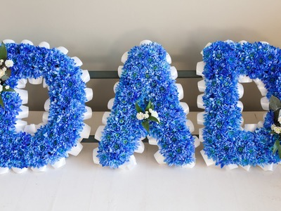 "Funeral Flower Wording - How to create a blue ""Dad"" Sympathy Arrangement"