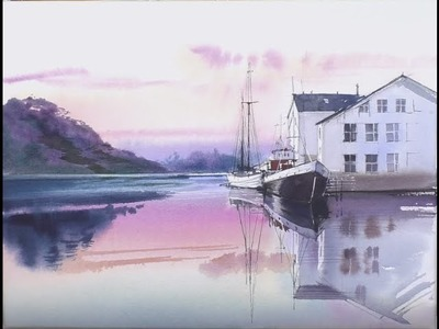 How to add reflections : Line & Wash  WaterColor  painting Demo