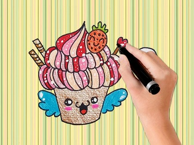 How to draw A Cartoon Cupcake with wings step by Step For Kid -Very easy - Happy Drawing