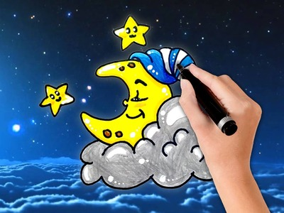 How to draw the Moon sleeping at night and Stars step by step for Kid | Happy Drawing