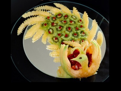 How to make a Peacock with Fruit. Pavão em fruta - By J.Pereira Art Carving Fruits and Vegetables