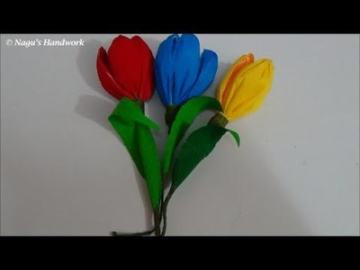 How to make Crepe paper flower-Crepe Paper Tulip Flower-How to make Paper Flower By Nagu's Hnadwork