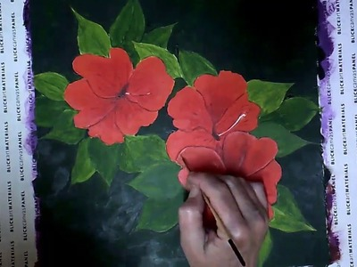 How to Paint Hibiscus Flowers Acrylic painting for beginners on canvas