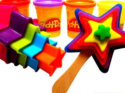 PLAY DOH How To Make Rainbow Star Lollipop Ice Cream