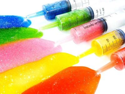 DIY How To Make Glitter Rainbow Slime Syringe Toy!! Jelly Slime