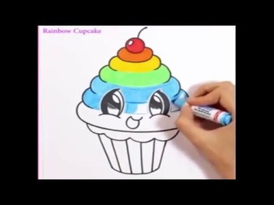 Drawing for Kids | how to draw a rainbow cupcake cute