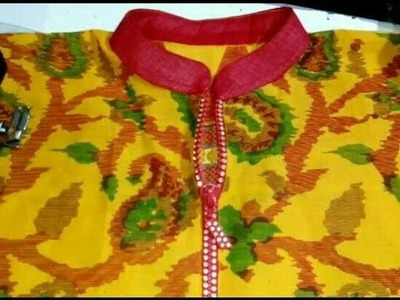 How to attach zip to the kurti.Attach zip on kurti neck