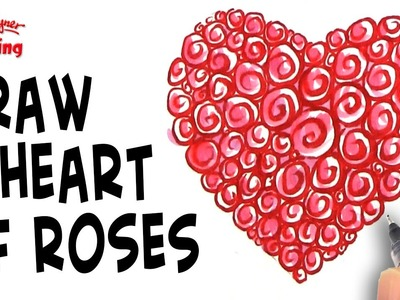 How to Draw a heart made of Roses for Mother's Day