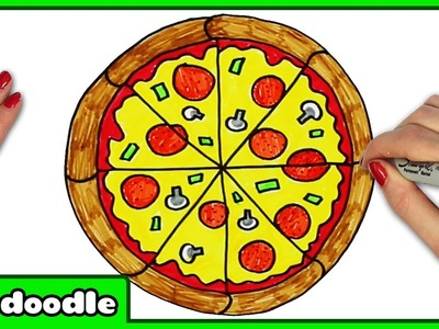 How To Draw A PIZZA - Easy Step by Step Drawing Tutorials for Kids by HooplaKidz Doodle