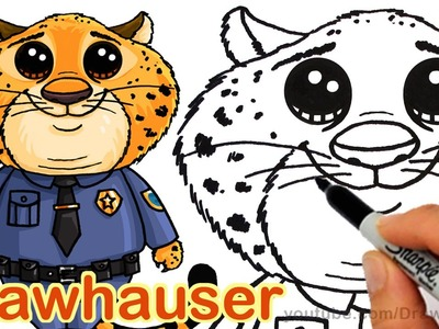 How to Draw Clawhauser from Disney Zootopia Cute step by step