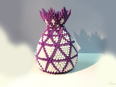 How to make 3d origami vase 18 - part 2