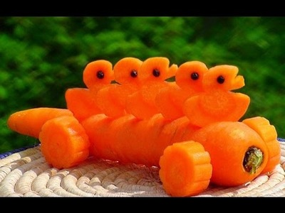 How to Make Carrot Five Little Ducks - Vegetable Carving Garnish - Sushi Garnish - Food Decoration