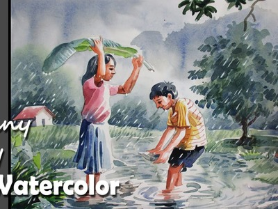How to Paint A Rainy Day scene in Watercolor